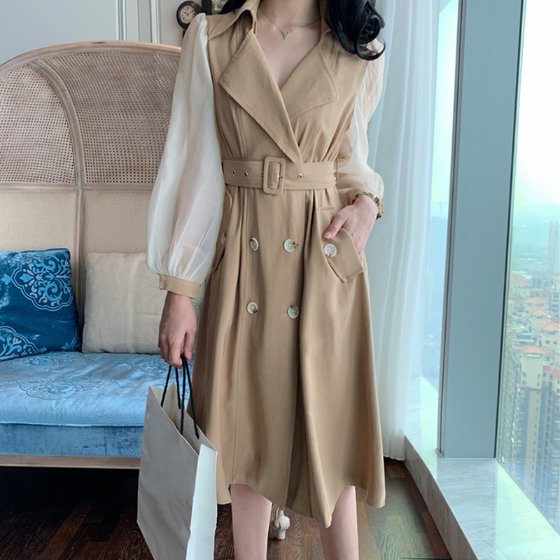 HIGH QUALITY New Fashion 2019 Designer   Trench   Women's Gauze Patchwork Sleeve Double Breasted   Trench   Outer wear
