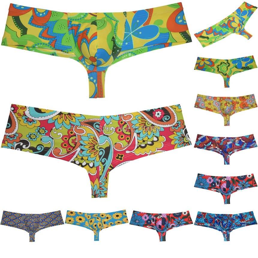 Men's Colorful Casual Brazilain Boxer Underwear Cheeky Swim Trunks