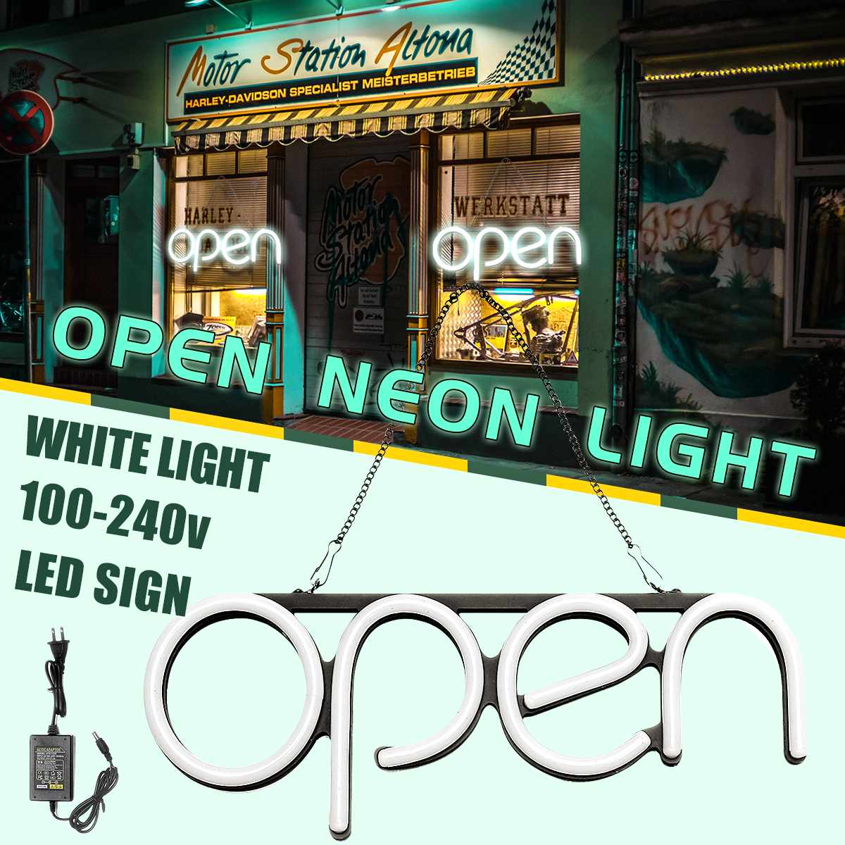 4 Style OPEN Neon Sign Light Beer Pub Party Home Room Wall Decoration 100-240V LED Neon Open Sign Light image
