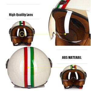 Image 3 - Beon Moto Rcycle Scooter Helm 3/4 Open Gezicht Halmet Moto Cross Vintage Casque Moto Casque Casco Moto Cicleta Capacete 110b