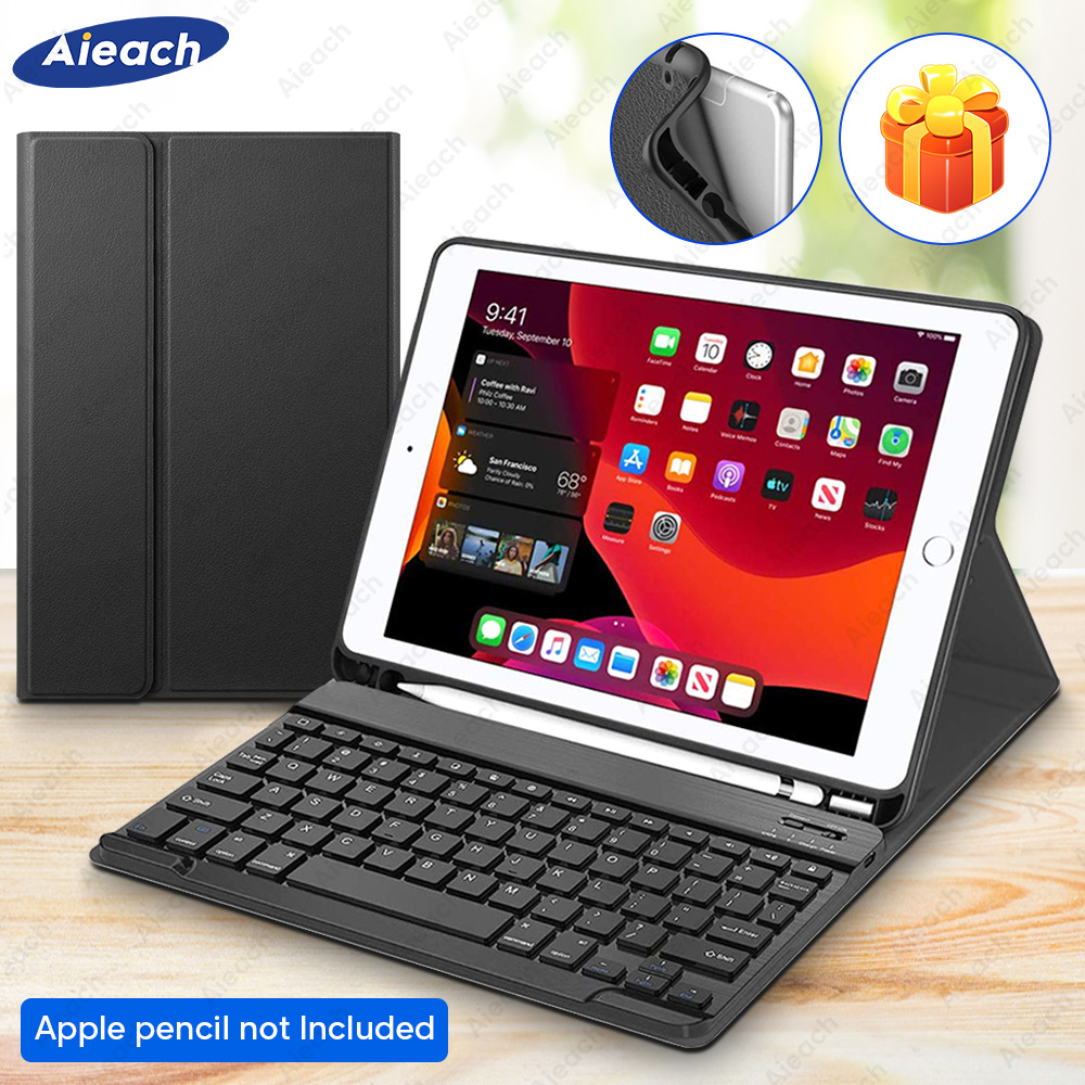 For IPad 10.2 Case 7th Generation 2019 With Pencil Holder Bluetooth Keyboard Case For 2017 IPad 2018 9.7 Case 5th 6th Generation