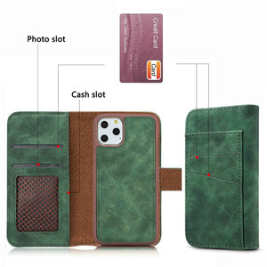 Image 4 - 2 in 1 Midnight Green Wallet For Coque iPhone 12 Mini 11 Pro Max Luxury Case iPhone12 2020 SE X S Xr Xs 6 6S 7 8 Plus Flip Cover