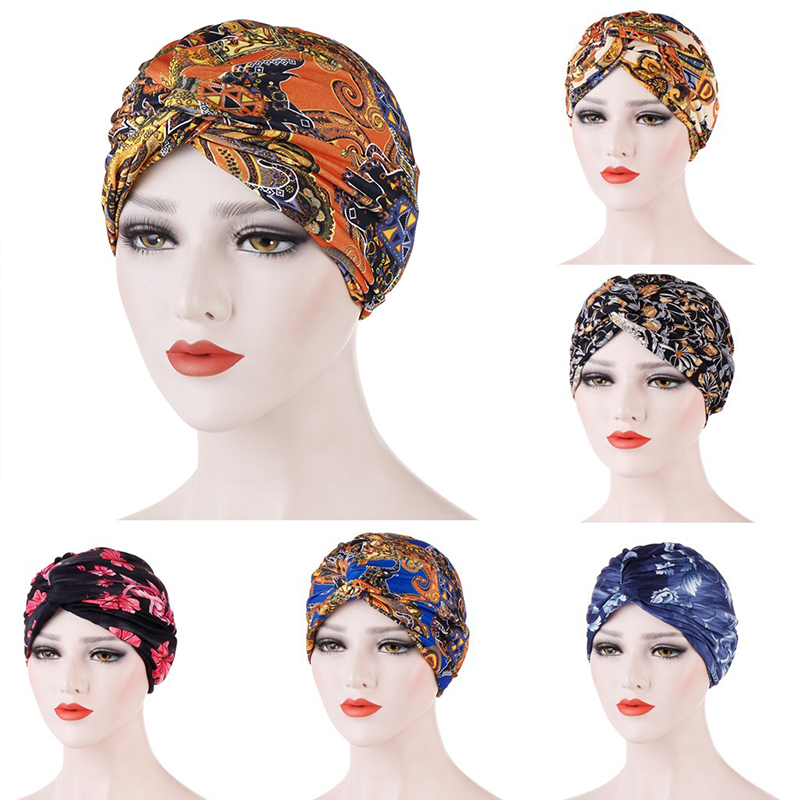 Women Printed Muslim Hats Hijab Cross Knotted Chemo Cap Beanie Scarf Turban Head Wrap Bandanas Vintage Headawear Accessories Hot