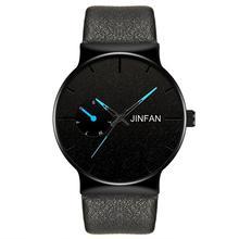 Moda erkekler İş İzle deri bant paslanmaz çelik kuvars kol saati lüks marka Casual basit saatler siyah