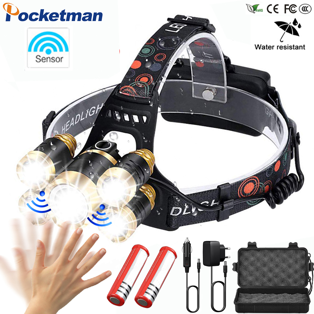 LED Headlamp With Sensor And Zoom 4 Modes Waterproof Headlight 5 LED T6 Head Lamp Flashlight Torch Head Light 18650 Fishing 91