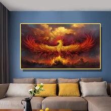 Картина на холсте настенная живопись золотой пламенный Феникс