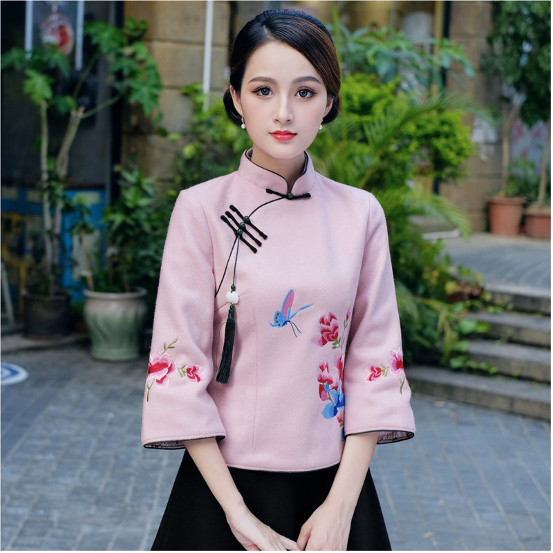 Sheng Coco Pretty Pink Chinese Qipao Shirt Woolen Retro Tops Flowers Dragonfly Embroidery Women Cheongsam Tops 4XL Autumn Blouse