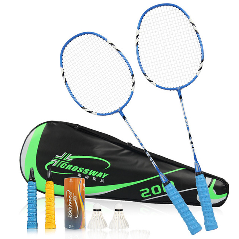 2pcs/lot Carbon Iron Alloy Professional Competition Training Badminton Rackets Set Family Double Light Weight Sports With Bag