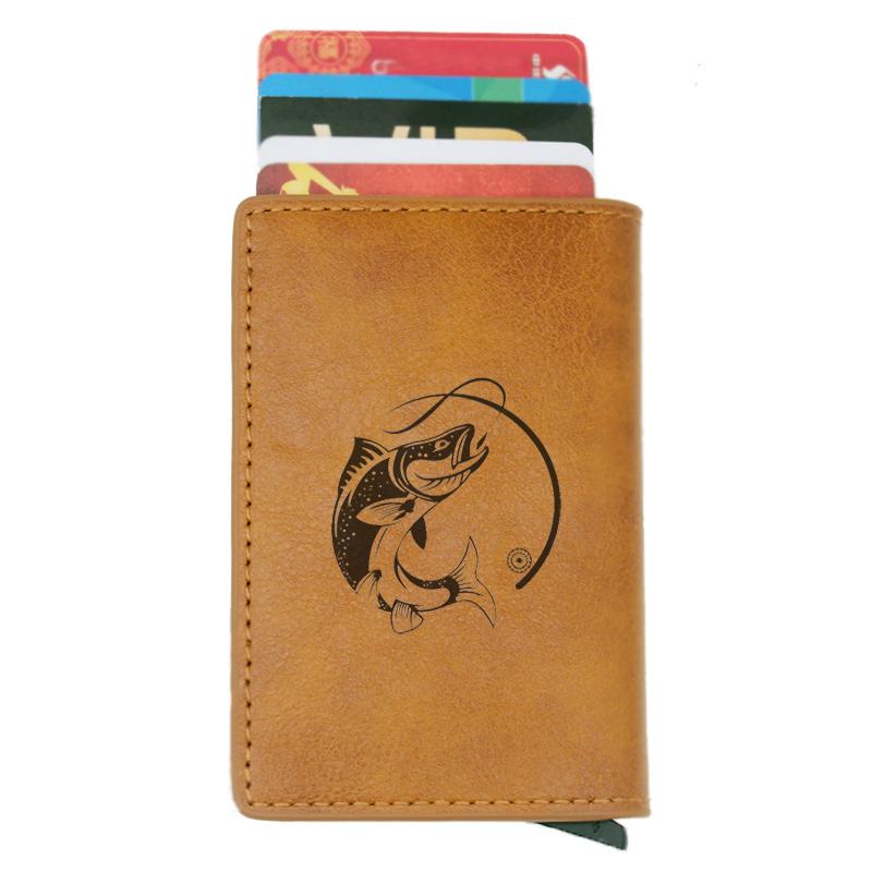 Fashion Casual  Fishing Rfid Card Holder Men Wallets Brown Short Purse Leather Slim Mini