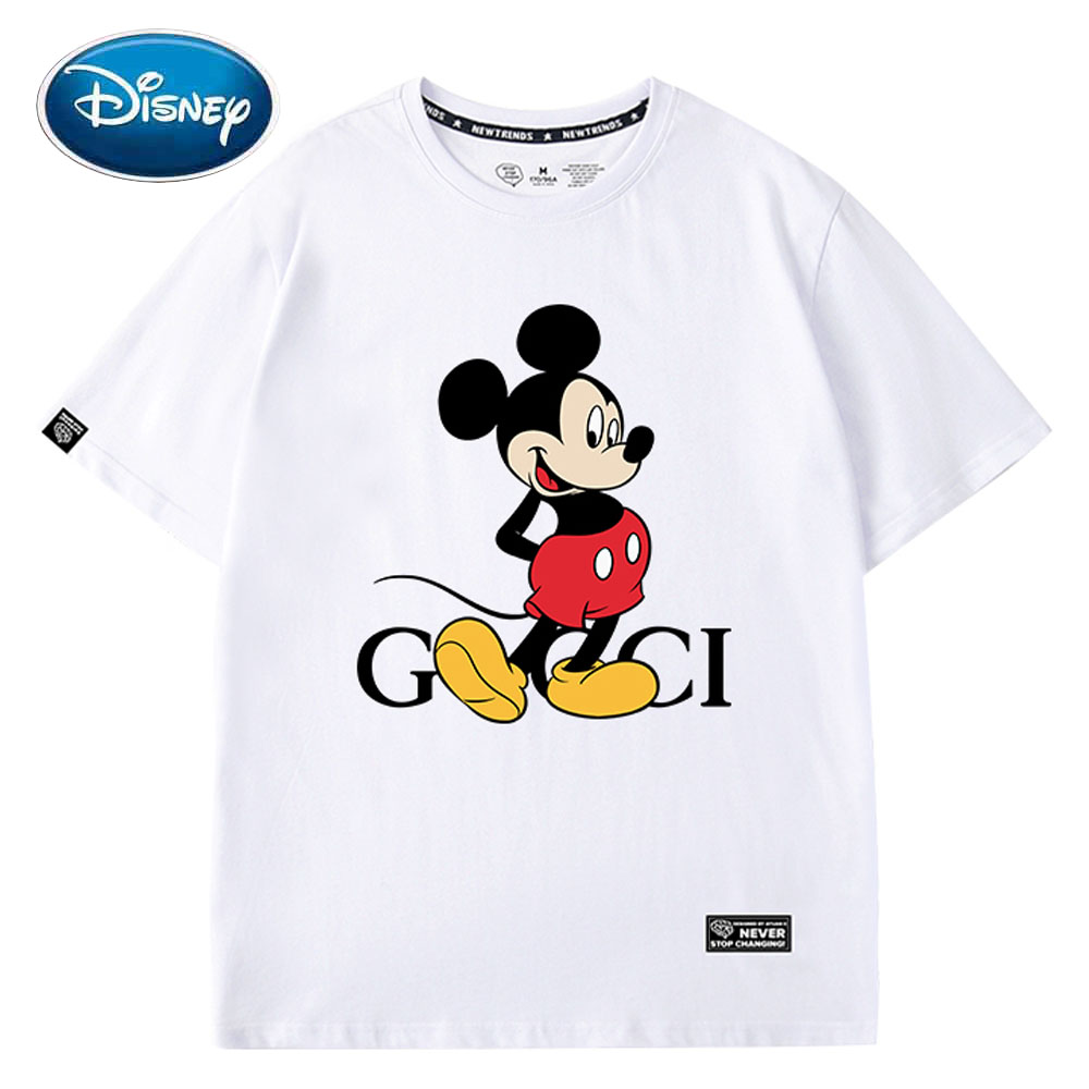 Disney Stylish Mickey Mouse Cartoon Letter Print Cotton Women T-Shirt O-Neck Pullover Short Sleeve Cute Loose Tee Tops 6 Colors
