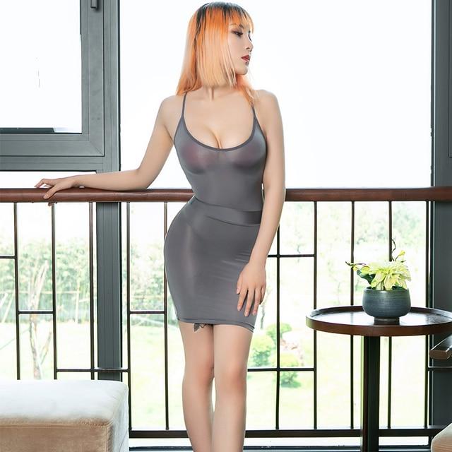 Smooth Sexy Bodycon Ice Silk Secretary Fancy Bodysuit See Through Leotard Mini Skirt Sets Nightclub Party Transparent Costume 5