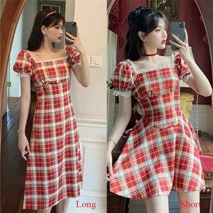 Plus size 4xl vestido feminino 2020 verão vintage cor vermelha vestido xadrez puff manga vestidos namoradas outfit robe rendas retalhos