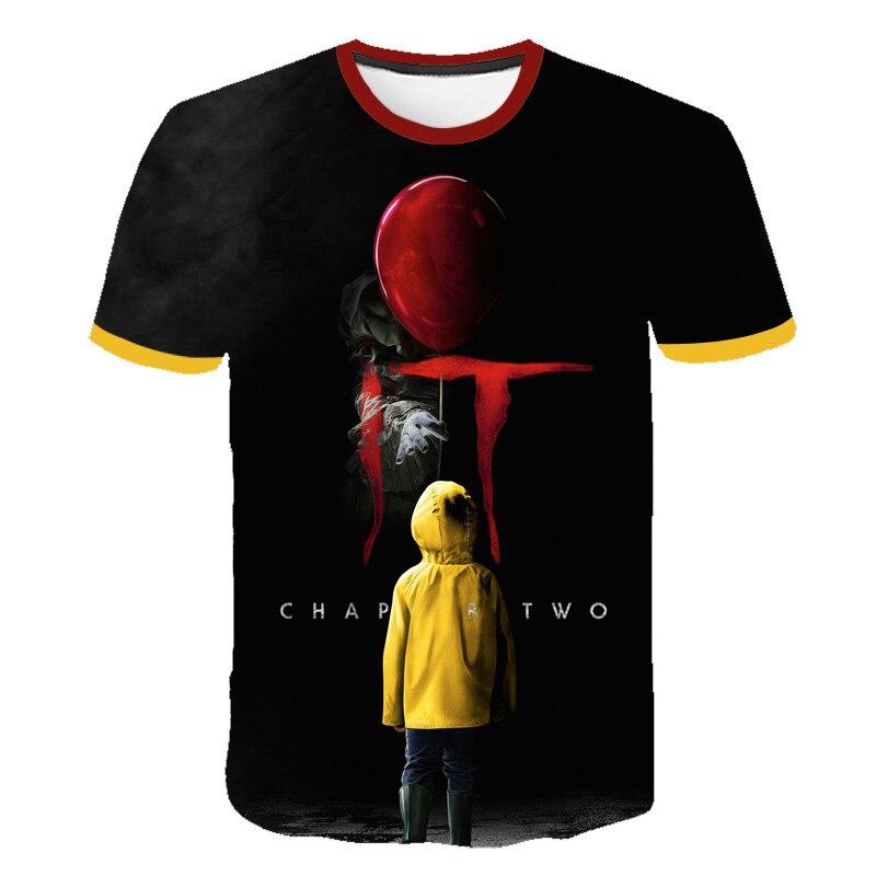 Camiseta estampada de stephen king, camiseta de manga curta para crianças, casual e infantil, de palhaço com estampa de horror, de verão camisetas
