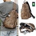 JackKevin Männer Multifunktions Leder Umhängetaschen USB Lade Brust Pack Kurze Reise Wasser Abweisend Schulter Boten Tasche