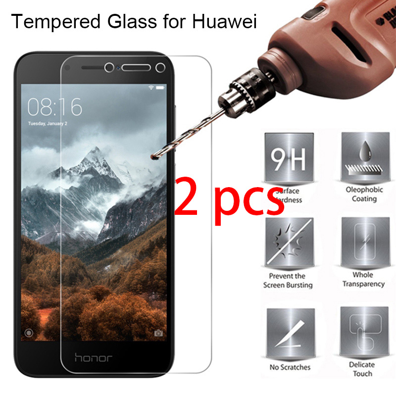 2pcs 9H Toughed Front Film Tempered Protective Glass for Huawei Honor 7C 8A 7A 6A Pro Smartphone Screen Protecor For Honor 5A 4A(China)