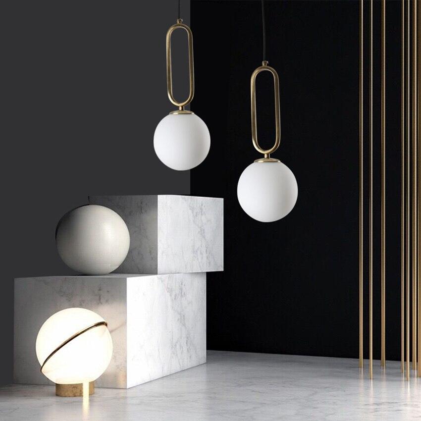 Modern LED Pendant Lights Glass Ball Pendant Lamp Lighting Nordic Cafe Living Room Lamp Restaurant Bedroom Decor Light Fixtures