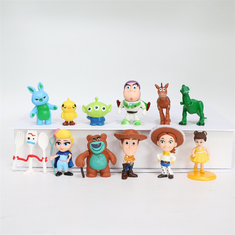 12 Pcs Q Version Toy Stories Buzz Lightyear Woody Jessie Forky Dog Lotso Bullseye Horse mini Action Figure Toys Kid Gift