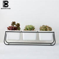 Creative Ceramic Flower Pot Succulent Plants Vase Simple Wrought Iron Desktop Flower Pots Planters Office Green Bonsai Pot Decor