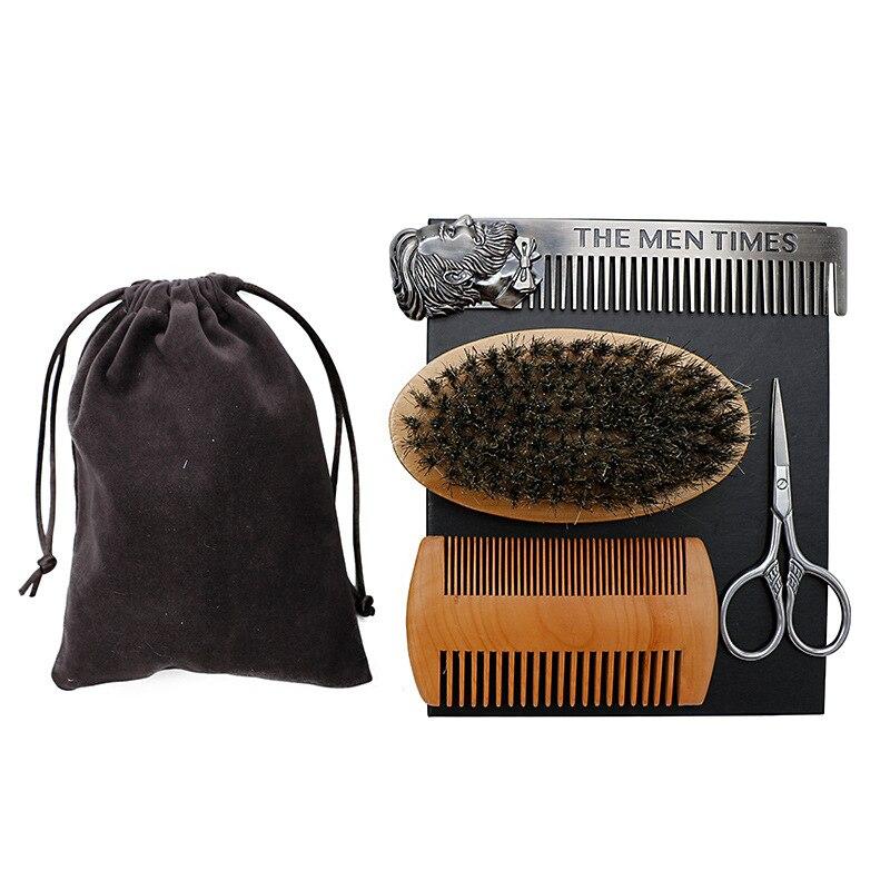 4pcs set Professional Beard Comb Set Double Beard Oil Head Shape Beard Comb Brush Care Beard