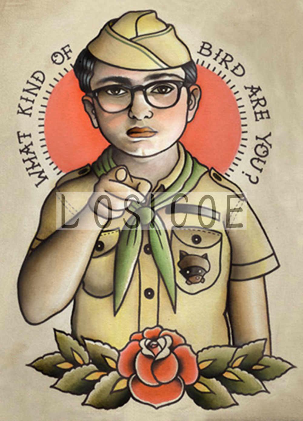 Diseño de tatuaje creativo pósteres pegatina de pared 30X42 CM nostalgia retro papel kraft HD impresión de inyección de tinta arte decoración del hogar E