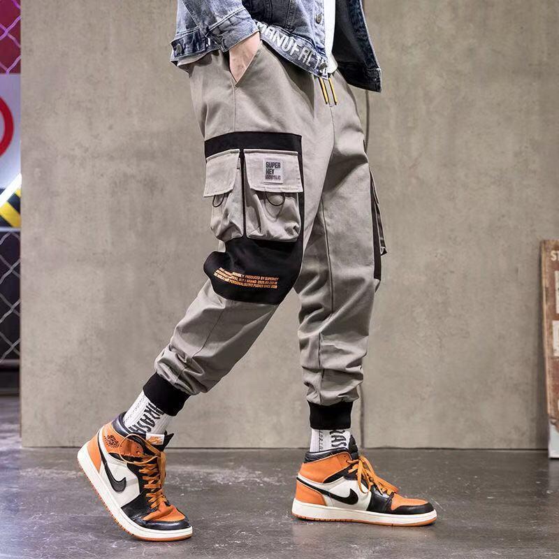 Men's Casual Pants Fashion Slim Elastic Waist Hip-hop Elastic Overalls Multi-pocket Cargo Pants Men's Large Size Pencil Pants