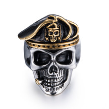 New Skull Ghost Army Group Stainless Steel Finger Rings Military Officer Jewelry Skeleton Pirate Rings Anniversary  Party Gifts цена в Москве и Питере