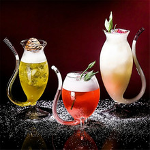 Creative Glass Wine Whiskey Glass Heat Resistant Glass Sucking Juice Milk Cup Tea Wine Cup With Drinking Tube Straw For Home Bar