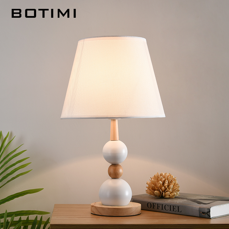 Botimi 北欧木製テーブルランプ寝室用白黒テーブルベッドサイドの照明器具生地ホテル読書装飾ランプ