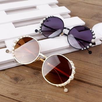 Dla dzieci okrągłe metalowe dzieci perła okulary przeciwsłoneczne dziewczyna chłopiec śliczne okulary moda okulary odcień UV400 tanie i dobre opinie gifansee ROUND Dziewczyny Stop Poliwęglan SR579 60mm 54mm