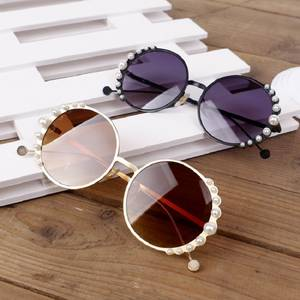 Pearl Sunglasses Eyewear Shade Girl Kids Children Cute Round Metal Boy UV400