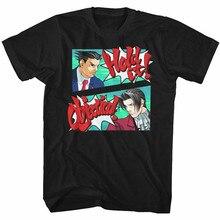 Ace Attorney Heren Korte Mouw T-shirt Zwarte Hold De Bezwaar Losse Plus Size? Tee Shirt