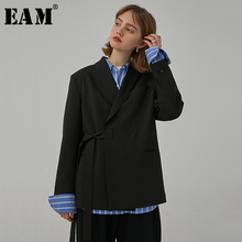 [EAM] Women Black Bandage Split Big Size Blazer New Lapel Long Sleeve Loose Fit