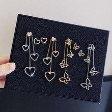 Korean Fashion Butterfly Heart Star Tassel Earrings Long Pendant Eardrop Women Asymmetric Dangle Earrings Female Jewelry цена