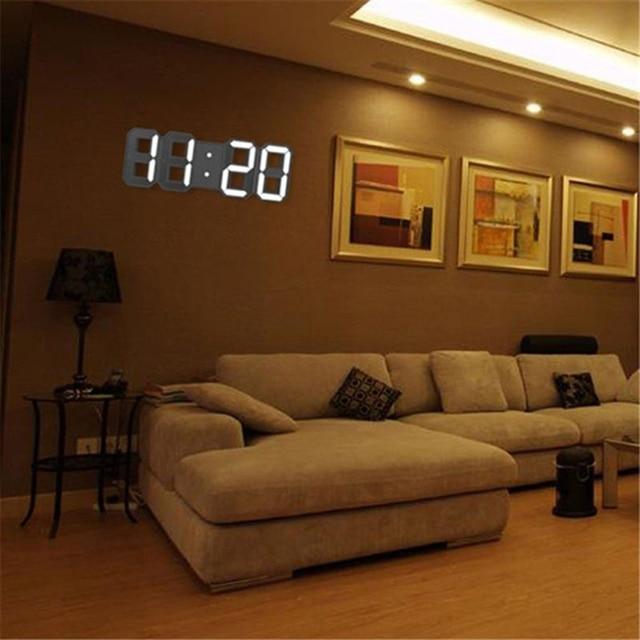 3D LED Digital Clock Electronic Luminous Alarm Clock USB Wall Three-Dimensional Living Room Office Snooze Clock 8 inch 12/24 Hr