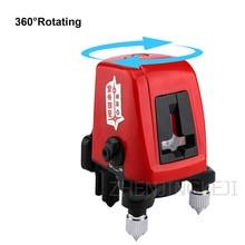 High Precision Laser Spirit Level Mini Building Portable Indoor Rotatable Caster 2 Lines