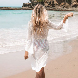 Image 5 - 2020 Summer Women Beachwear Sexy White Crochet Tunic Beach Wrap Dress Woman Swimwear Swimsuit Cover ups Bikini Cover Up #Q719