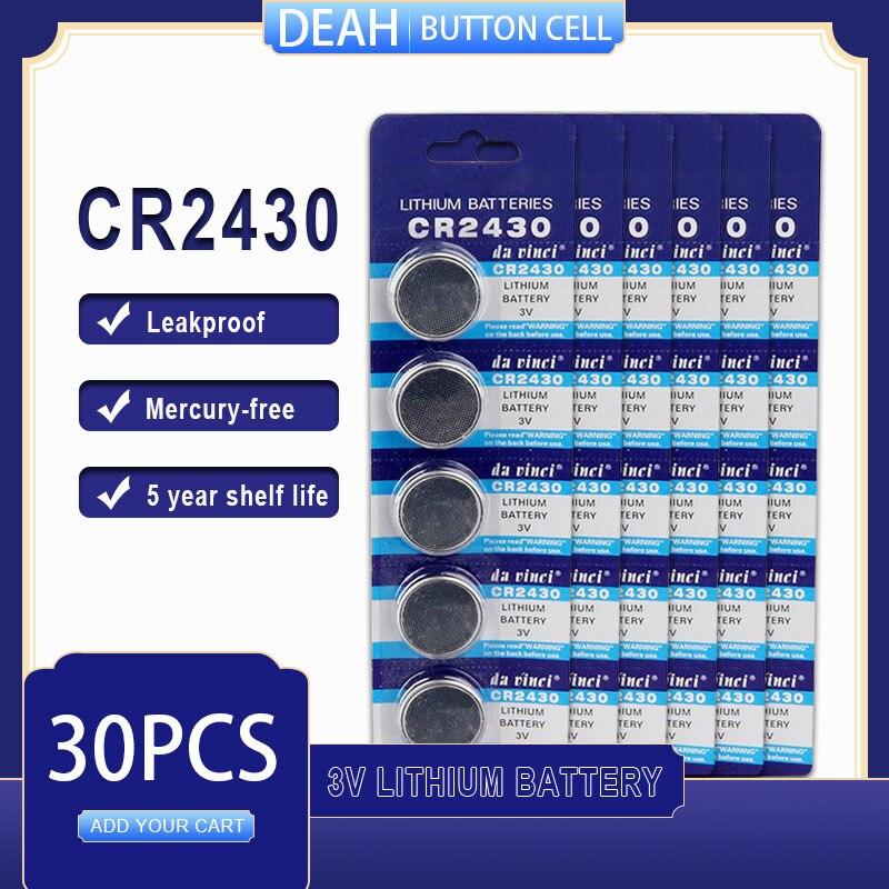 30 шт./лот CR2430 литиевая батарея 3В CR 2430 DL2430 BR2430 ECR2430 для часов компьютера калькулятор управления игрушки кнопки батареи