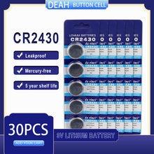 30 PÇS/LOTE CR2430 3V CR Bateria De Lítio 2430 DL2430 BR2430 ECR2430 para Assista Calculadora Computador de Controle Brinquedos Baterias Botão