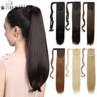 """S-noilite femmes 24 """"pince en queue de cheval longues Extensions de cheveux raides pièce enveloppant autour de queue de cheval réel naturel synthétique"""