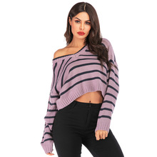 цена на Autumn Women Sweater V-neck Oversized High Quality Loose Casual Women Striped Pullovers Sweater New Fashion Female Clothing