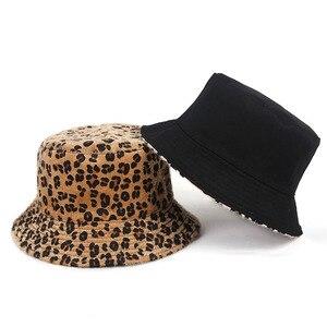 Inverno reversível balde chapéu feminino leopardo impressão 2020 moda falso pele mulher balde chapéus hip hop pescador chapéu bob chapeau femme