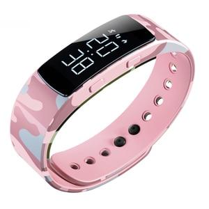 Image 1 - Модные камуфляжные светящиеся цифровые часы, водонепроницаемые женские электрические светодиодные спортивные часы, Смарт часы с зарядным браслетом, наручные часы