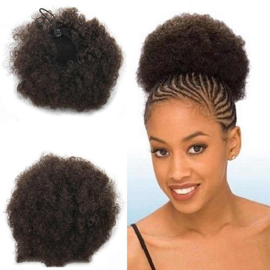 Cabelo encaracolado encaracolado encaracolado peruca de rabo de cavalo com cordão de cabelo curto afro kinky pony tail clip in em sintético kinky bun