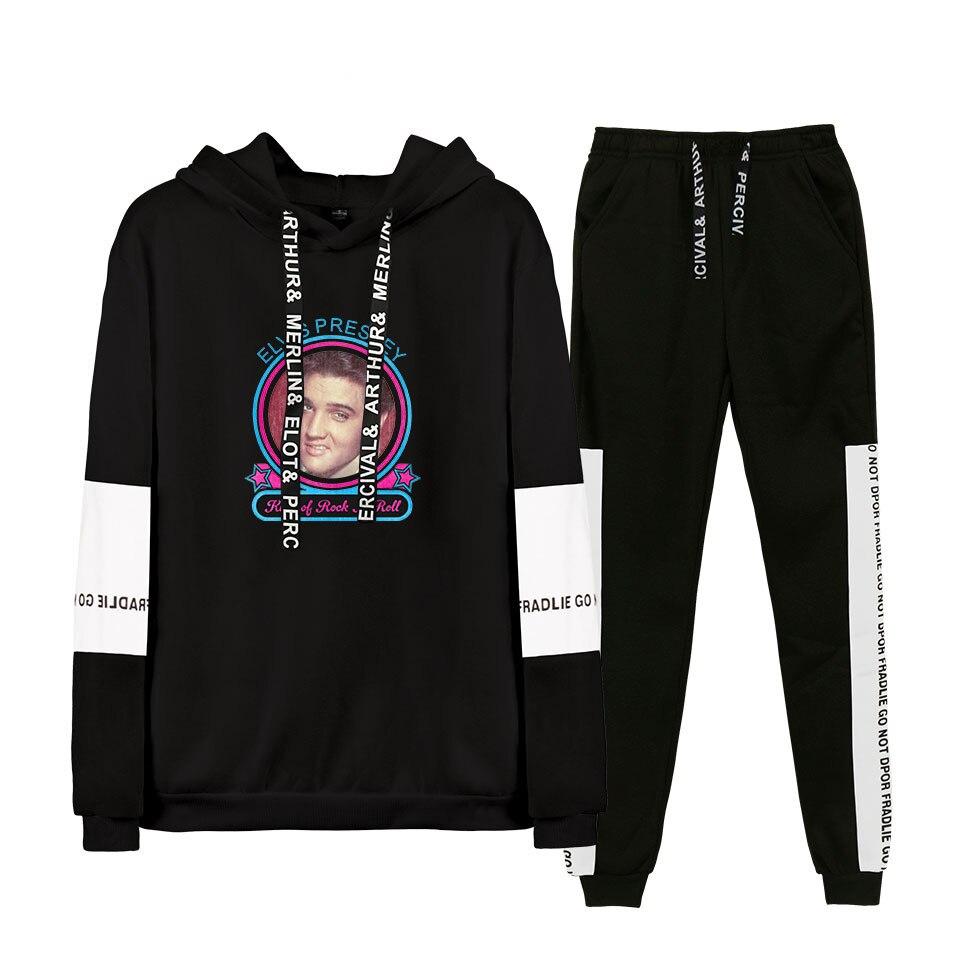 2019 Autumn/Winter Elvis Presley Hoodies Sweatshirts And Sweatpants Women Elvis Presley Two Piece Set Hooded Suit Velvet