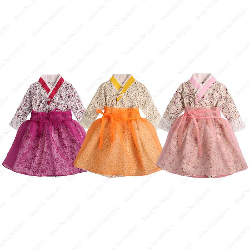 תינוקת מסורתי קוריאני Hanbok מסיבת חתונה רשמית שמלת ילדים ארוך שרוול פרחוני הדפסת אסיה בגדי ילדים חמוד שמלות