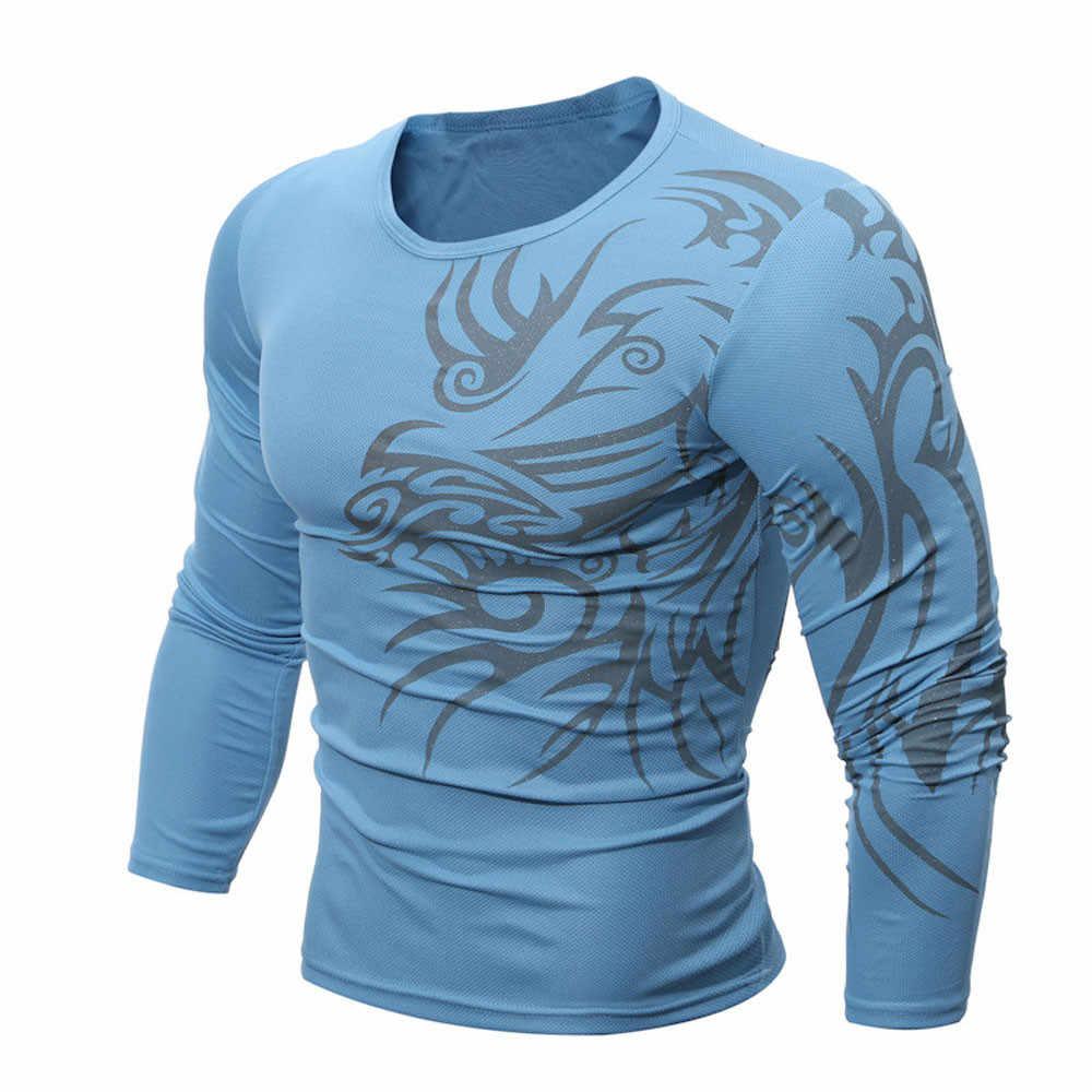 Outono inverno t camisa casual de manga longa magro t camisa dos homens o pescoço tatuagem torneira impressão rápida secagem streetwear masculino t ginásio topo