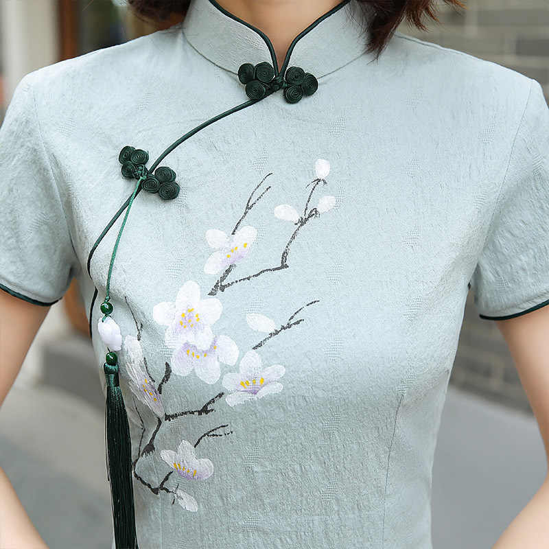 Modern keten pamuk Qipao çince geleneksel elbise mavi Cheongsam elastik kuvvet Cheongsam geliştirmek Qi Pao Vestido GD892