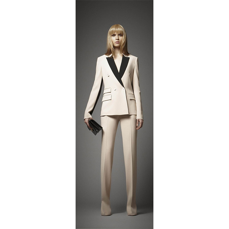 Jacket+Pants Women Business Suit Ivory Jacket Black Lapel Female Office Uniform Ladies Formal Trouser Suit Double Breased