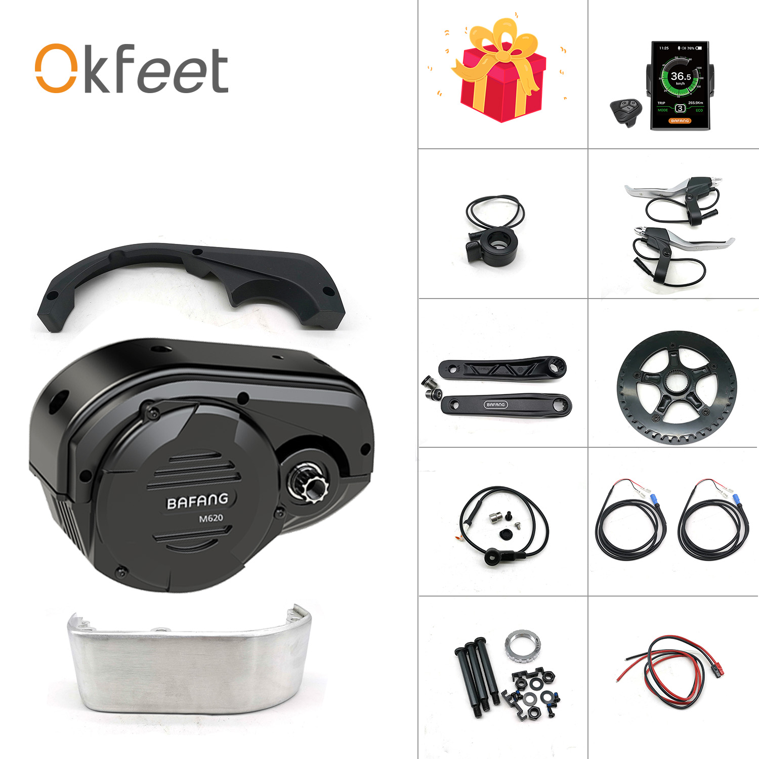 Okfeet Bafang G510 48V 1000W 8fun M620 Mid Drive Motor Kit E Bike Electric Cargo Bike Bicycle Conversion Kit For Ebike