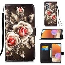 Rose Flower Cat Book Flip Phone Case For Etui Samsung Galaxy S21 Fe S20 Ultra S10 Plus A12 A32 A42 A52 A72 A02 A51 Xcover5 DP03D